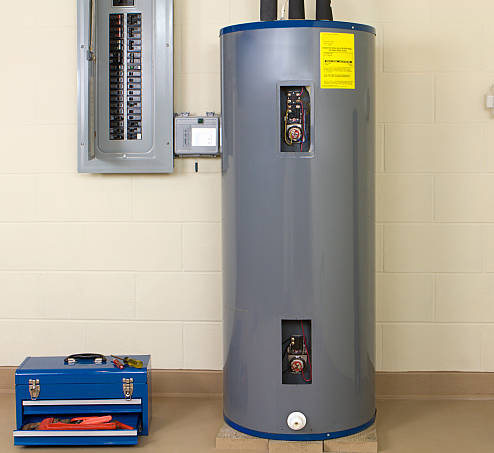 water heater installed by professional plumber